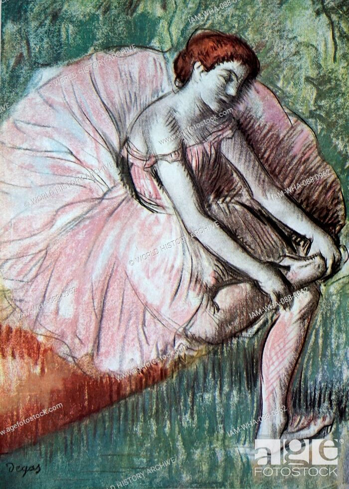 Stock Photo: Painting titled 'Dancer Massaging her Ankle' by Edgar Degas (1834-1917) a French artist and sculptor. Dated 19th Century.