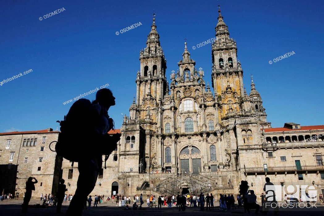 Stock Photo: Cathedral of Santiago de Compostela with pilgrim, Spain.