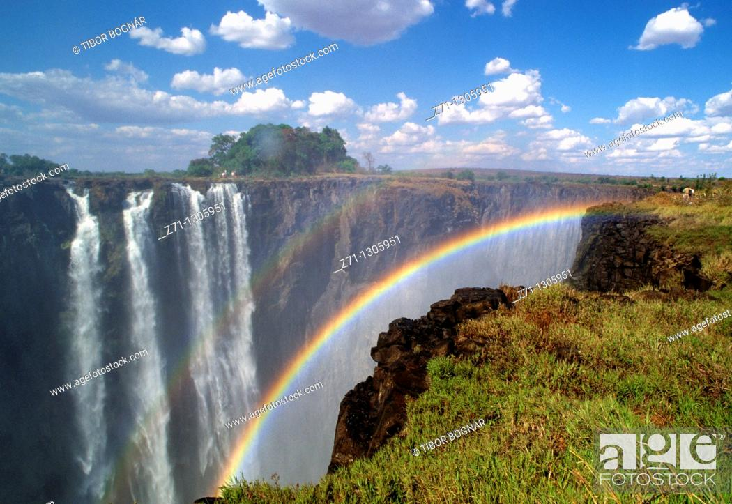 Stock Photo: Zimbabwe, Victoria Falls, Zambezi River, rainbow,.