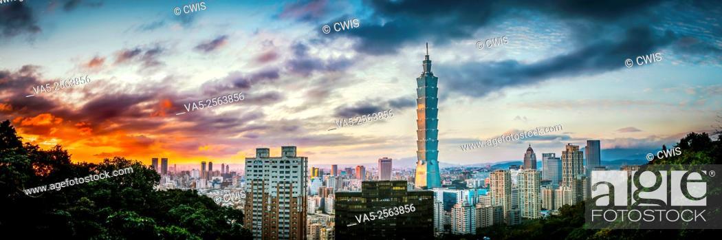 Stock Photo: Taipei, Taiwan - Panorama of Taipei City and 101 Tower at sunset from Elephant Mountain.