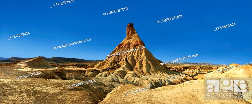 Stock Photo: Castildeterra rock formation in the Bardena Blanca area of the Bardenas Riales Natural Park, Navarre, Spain.