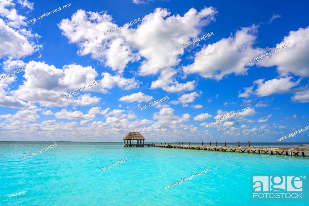 Photo de stock: Holbox Island beach wooden pier hut in Quintana Roo of Mexico.