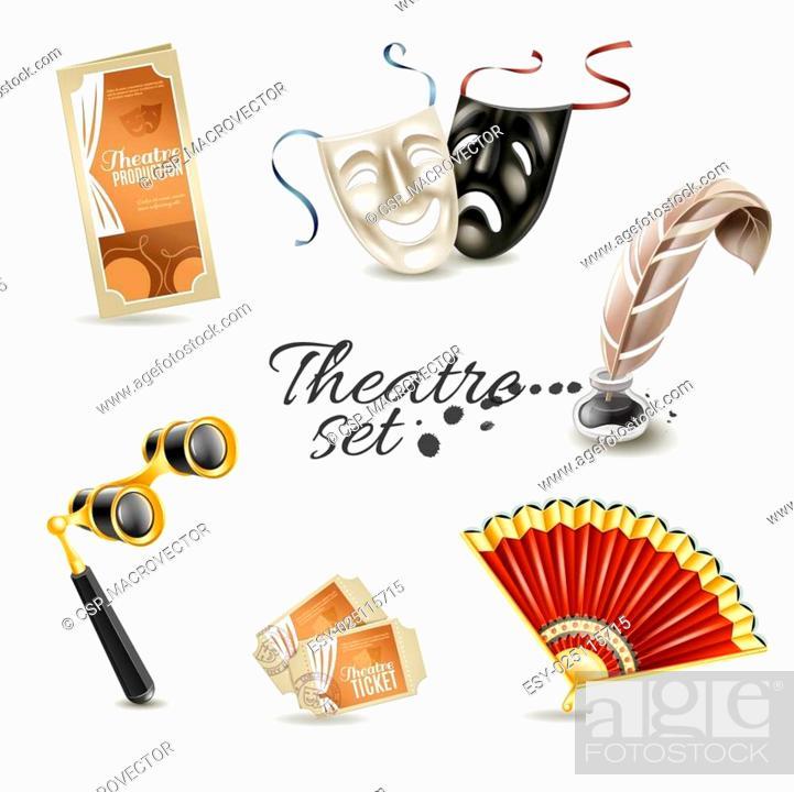 Vecteur de stock: Theater attributes flat pictograms set.