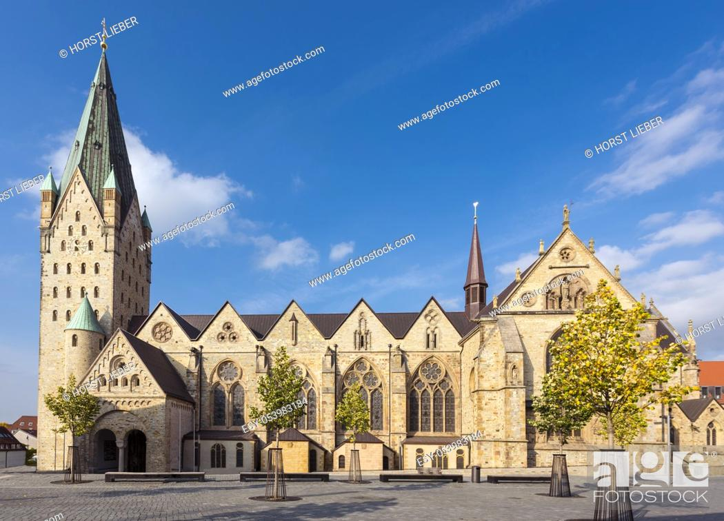 Stock Photo: Catholic Paderborn Cathedral St. Liborius is mainly of the 13th century. The western tower of the 12th century. Germany, Europe.