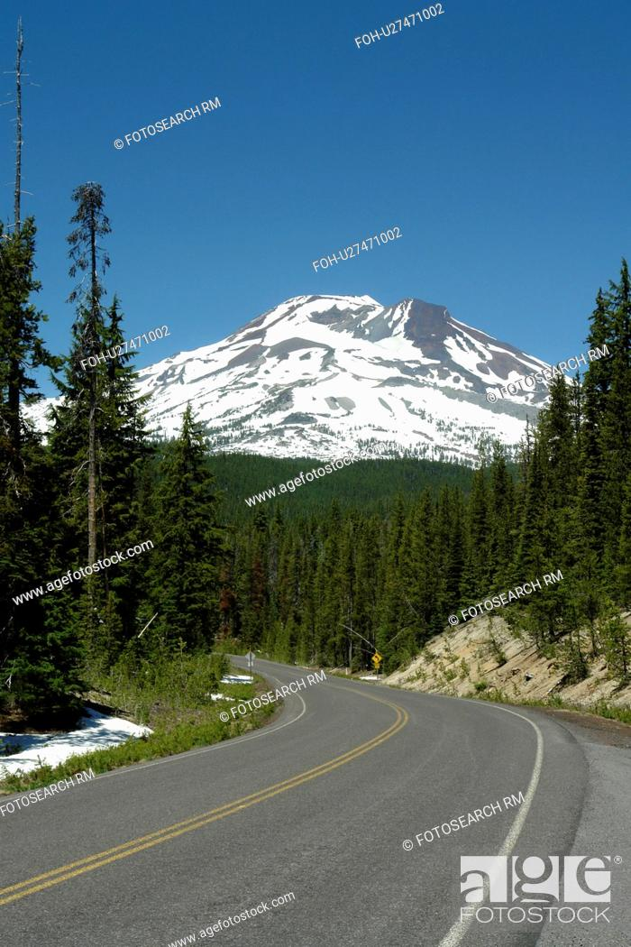 Stock Photo: Deschutes National Forest, OR, Oregon, Mount Bachelor, Cascade Lakes National Scenic Byway, Cascade Range.