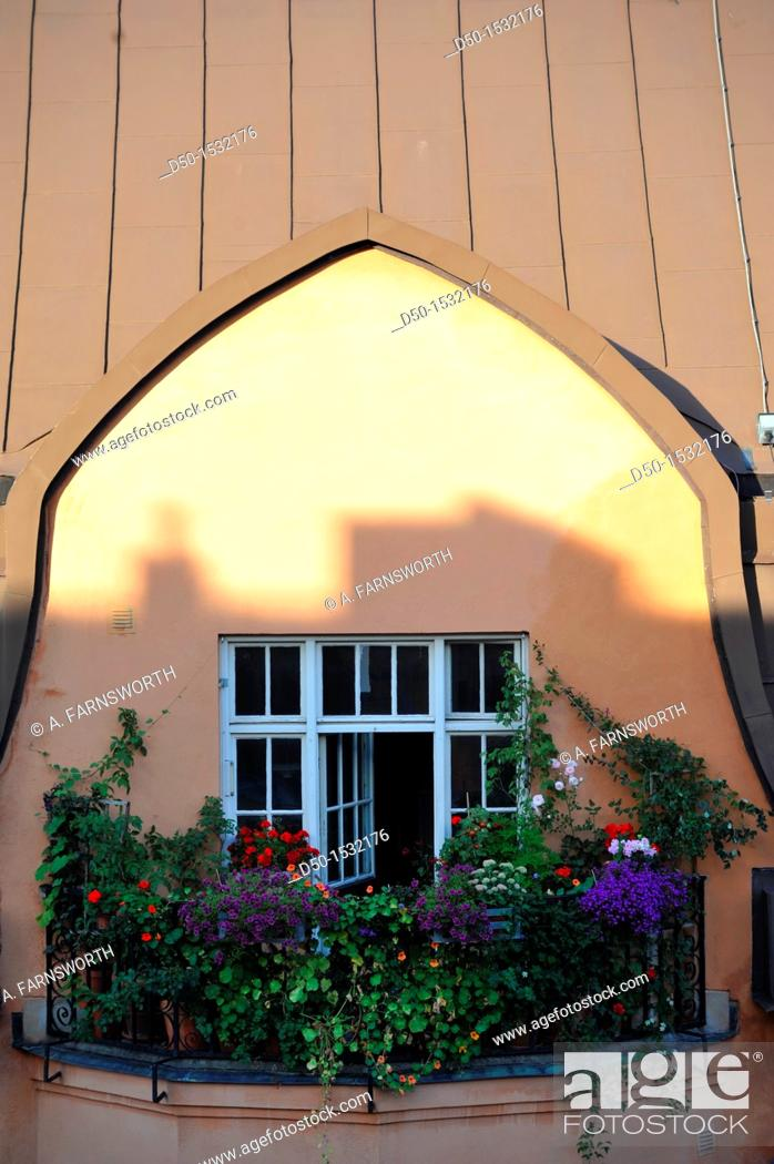Stock Photo: STOCKHOLM SWEDEN Overgrown balcony.