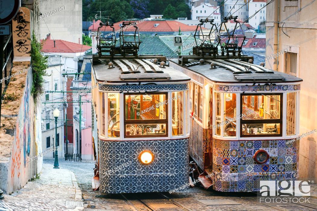 Stock Photo: The Gloria Funicular, Lisbon, Portugal, Europe.