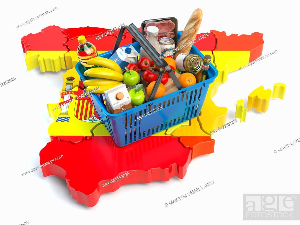 Imagen: Market basket or consumer price index in Spain. Shopping basket with foods on the map of Spain. 3d illustration.