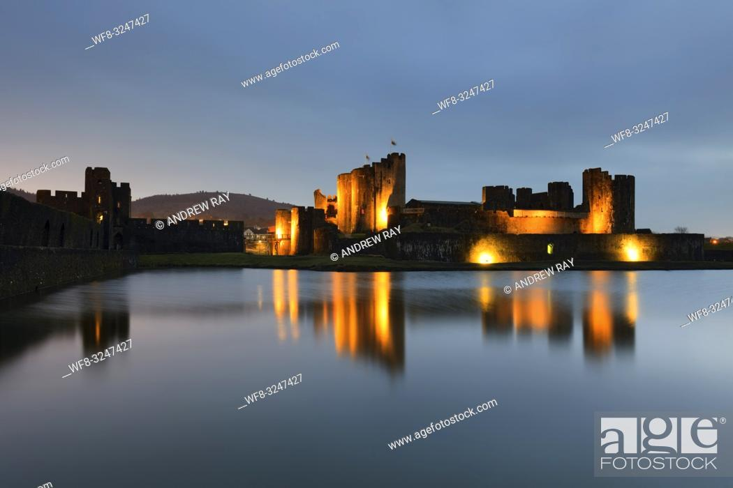 Stock Photo: Twilight at Caerphilly Castle in South Wales, captured on an evening in mid February.