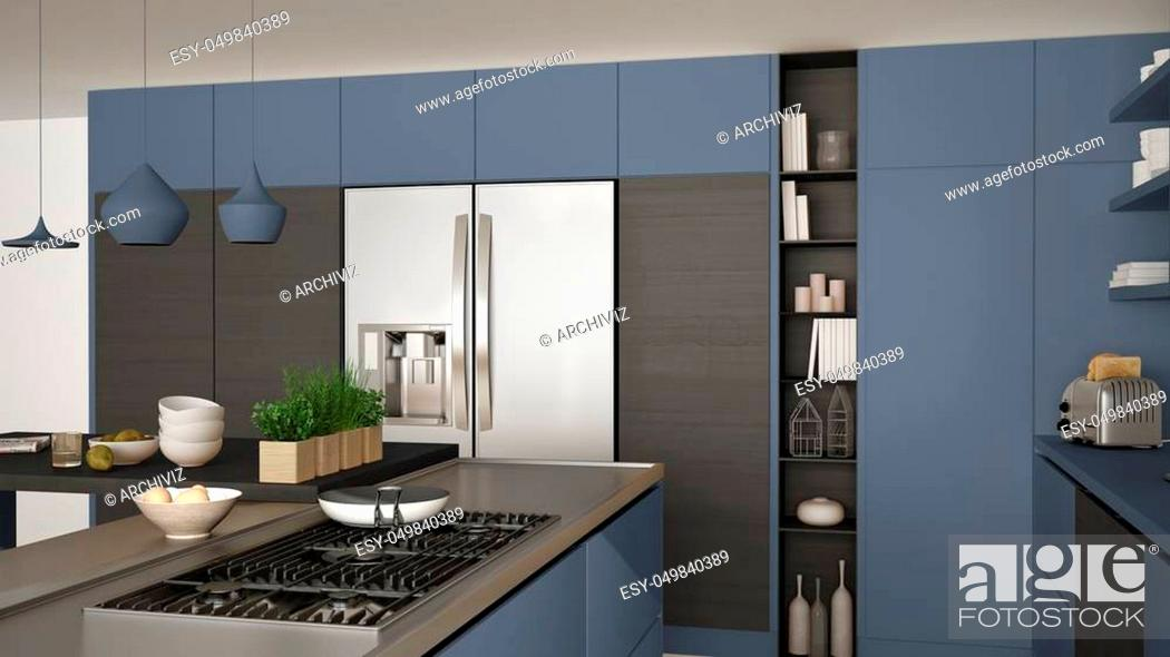 Stock Photo: Modern wooden kitchen with wooden details, close up, gas stove with cooking pan, gray and blue minimalistic interior design.