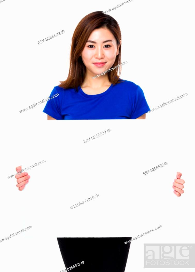 Stock Photo: Asian woman hold with white banner.
