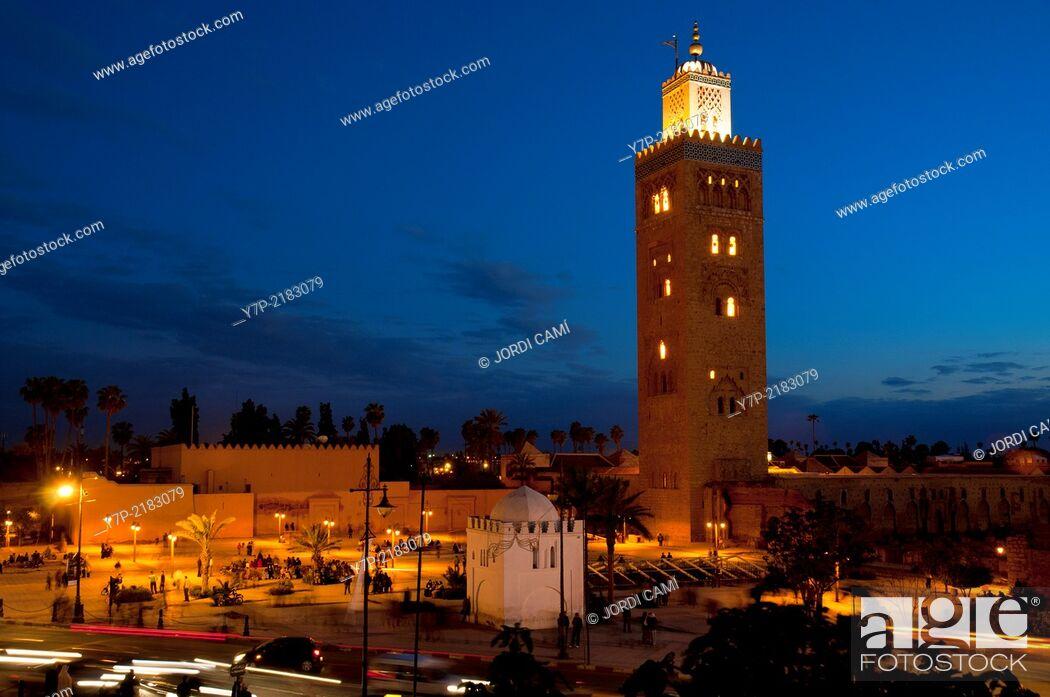 Stock Photo: Koutubia mosque minaret, Marrakech, Morocco, North Africa.