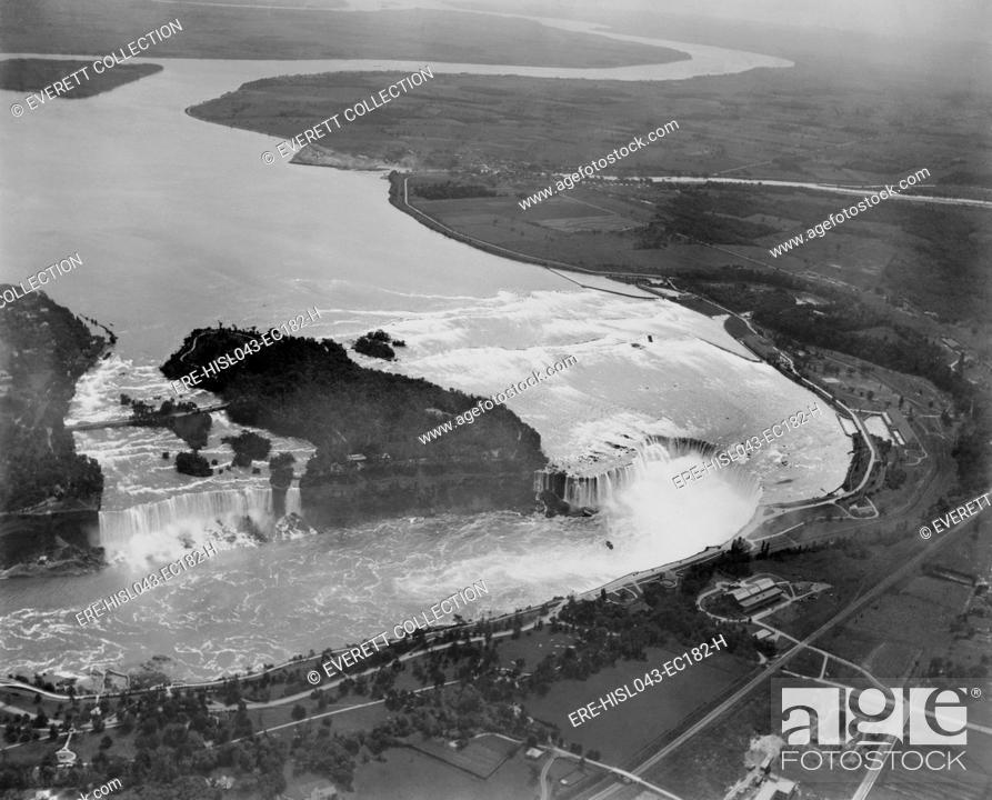 Aerial View Of Niagara Falls New York In 1922 The American
