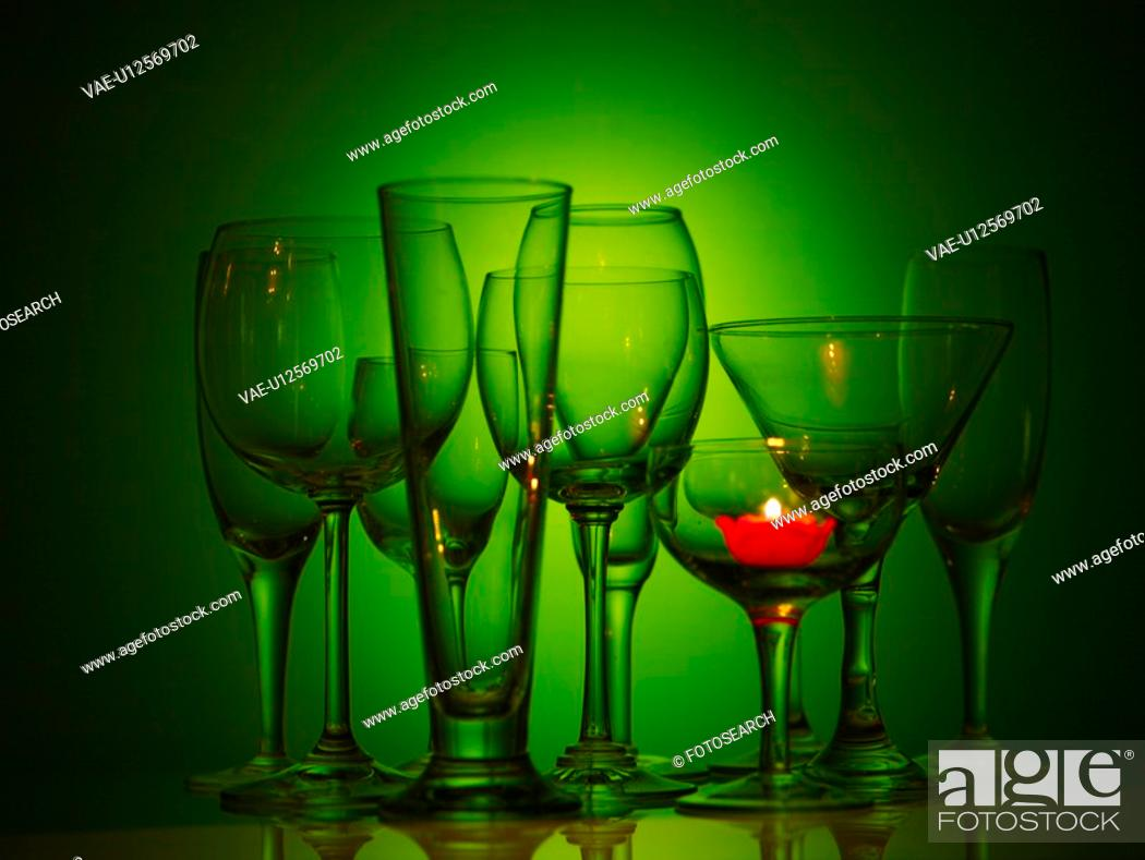 Stock Photo: candle light, wine glass, candle, object, champagne glass, glass.