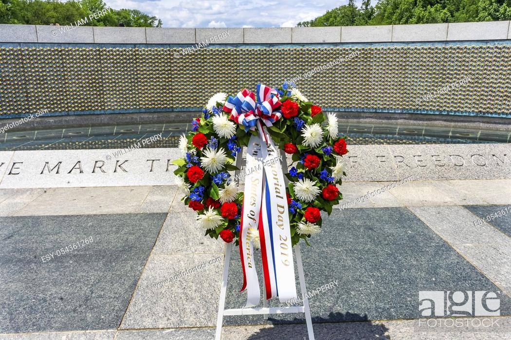 Stock Photo: Memorial Day Wreath World War II Memorial National Mall Washington DC. Memorial was dedicated 2004.