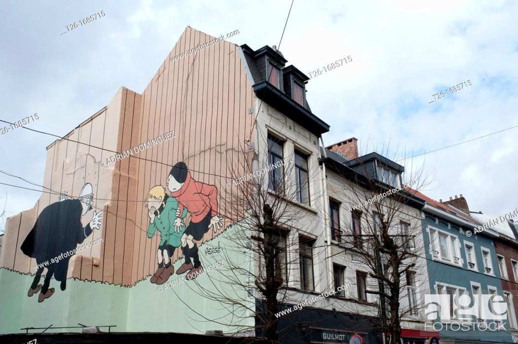 Stock Photo: Comic paint in a wall of Brussels, Belgium.