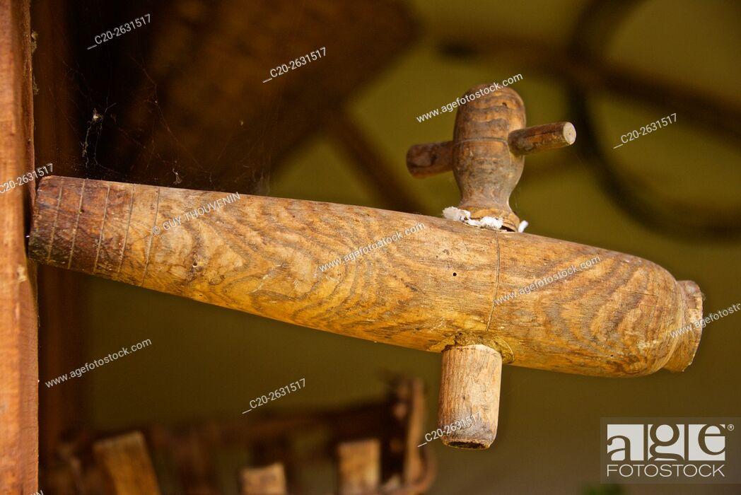 Stock Photo: Wine Barrel tap, France.