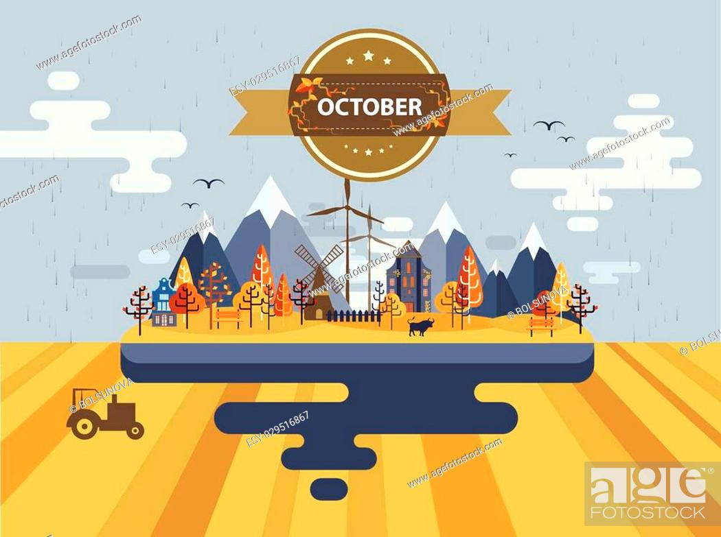 Stock Vector: Autumn landscape. Small town Set 1 Month of October Infographics Calendar Mountain, nature, park, tractor, bull, village, building.