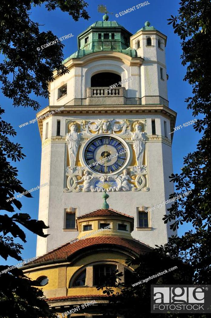 Stock Photo: Art Deco clock tower of Müllersches Volksbad, a public swimming pool, Munich, München, Bavaria, Germany, Europe.