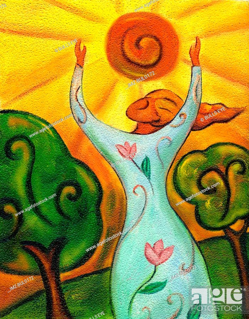 Stock Photo: An illustration of a woman putting her arms up to the sun.