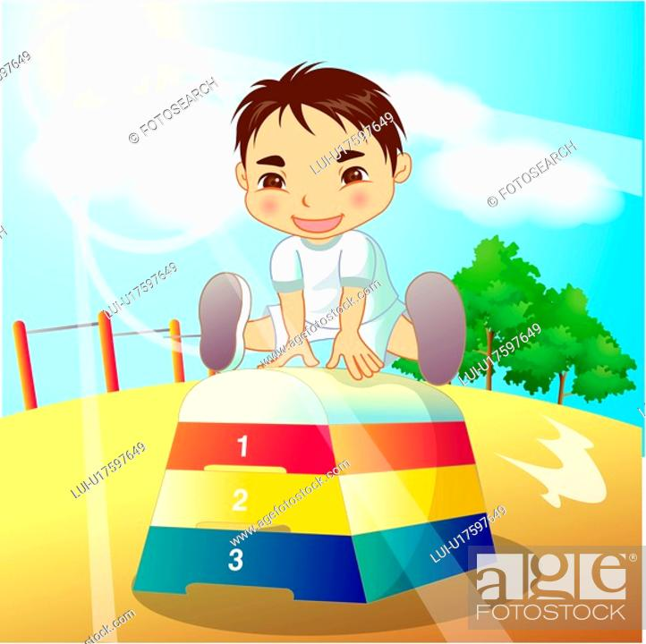 Stock Photo: playground, girl, outdoors, gym suit, sports wear, student.