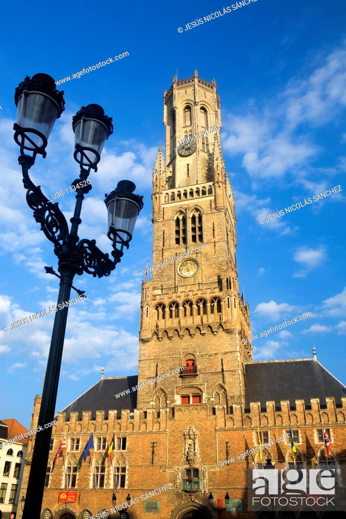 Stock Photo: Belfry Tower in Market Square, in the medieval town of Brugge, listed World Heritage Site by UNESCO  Flanders  Belgium.