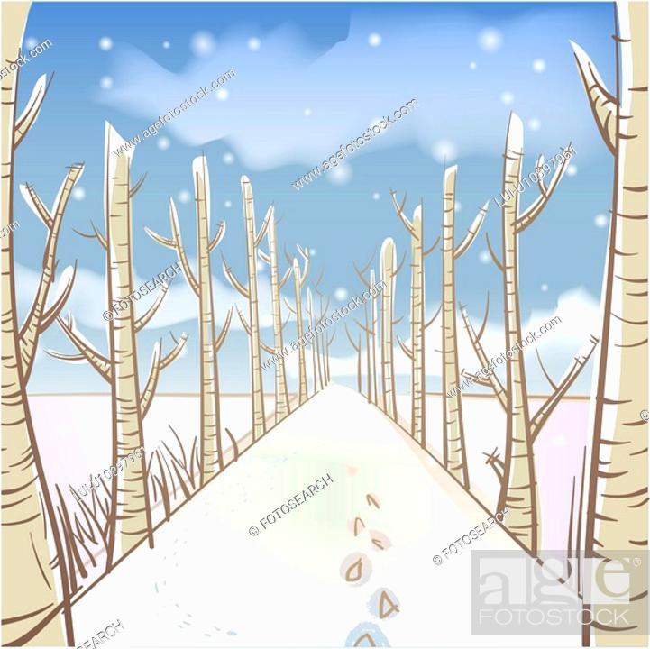 Stock Photo: tree, season, snowing, snow, winter, sky, background.