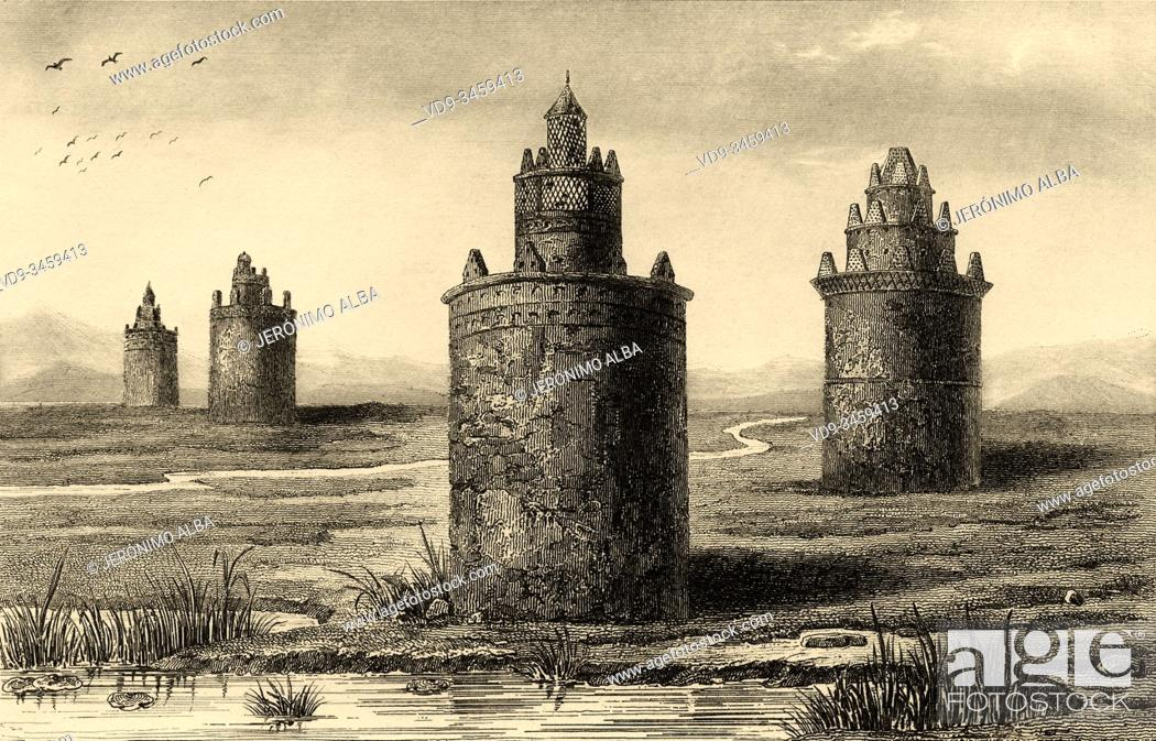 Stock Photo: Persian old dovecote. Iran. Old steel engraved antique print. Published in L'Univers La Perse, in 1841. History of the ancient Persian empire.