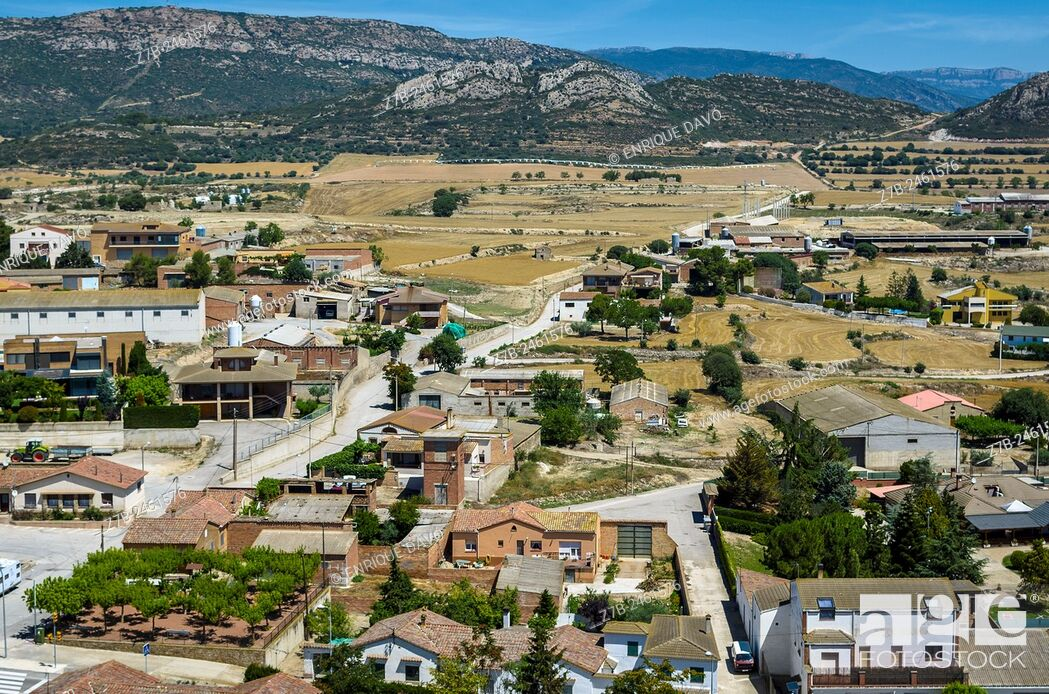 Stock Photo: High view of Cubells town, Lerida province, Catalonia, Spain.