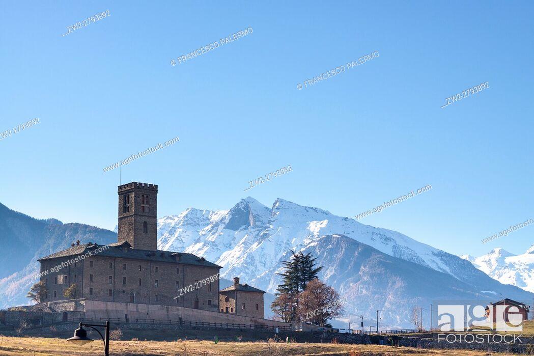 Stock Photo: A landscape with castle. Aosta, Valle d'aosta. Italy.