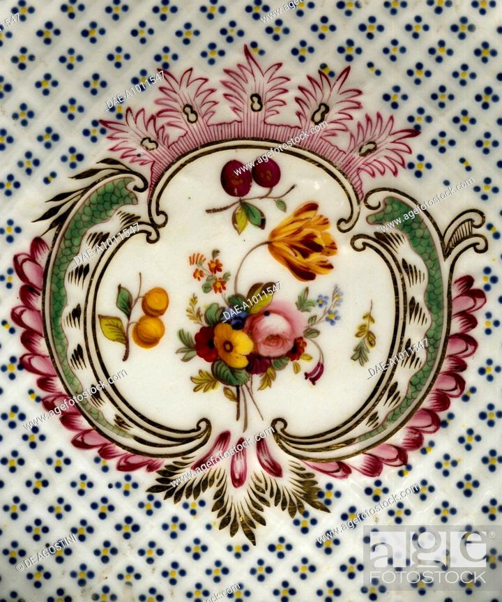 Stock Photo: Lobed plate with floral compositions on a seeded floral background, porcelain, French manufacture. Detail. France, 18th century.
