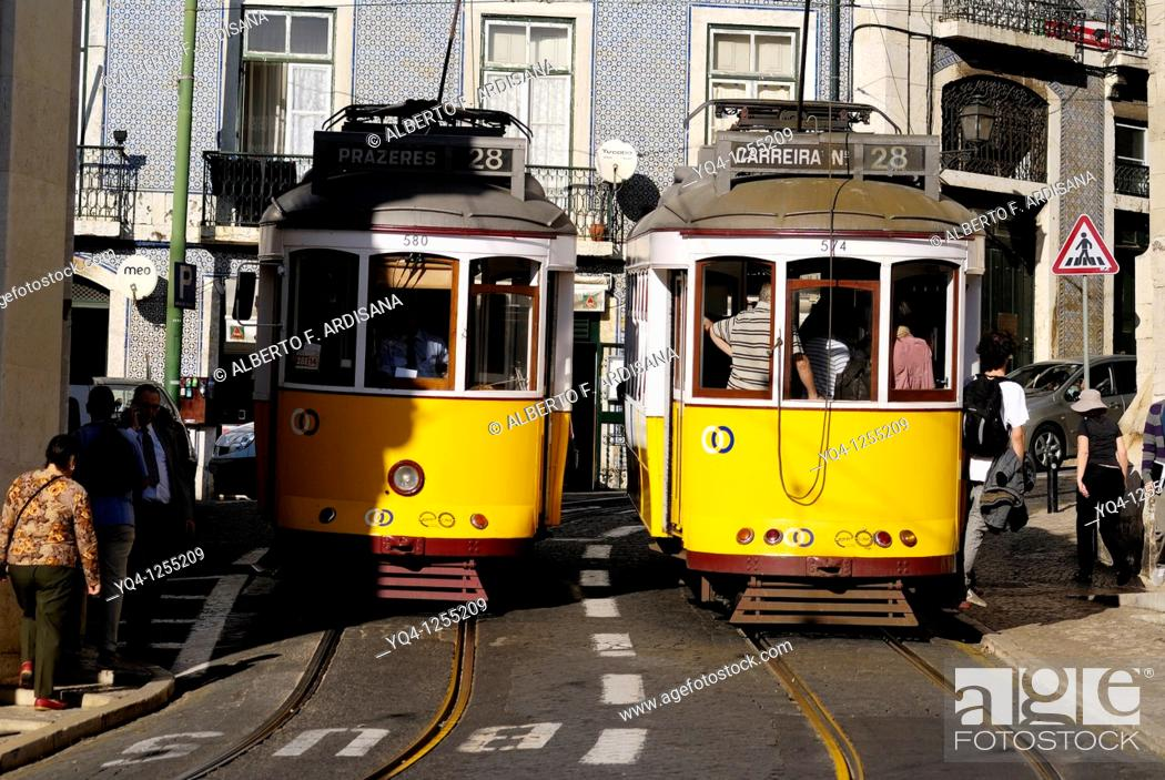 Stock Photo: Crossing No. 28 streetcar Lisbon, Portugal.