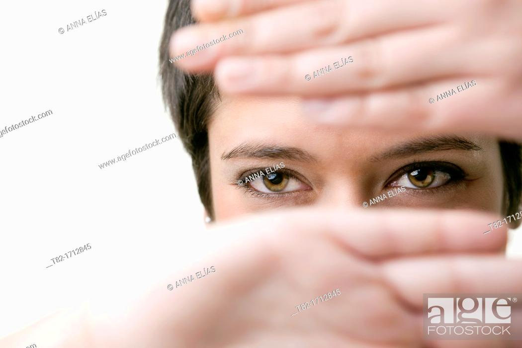 Stock Photo: young woman's smiling face.