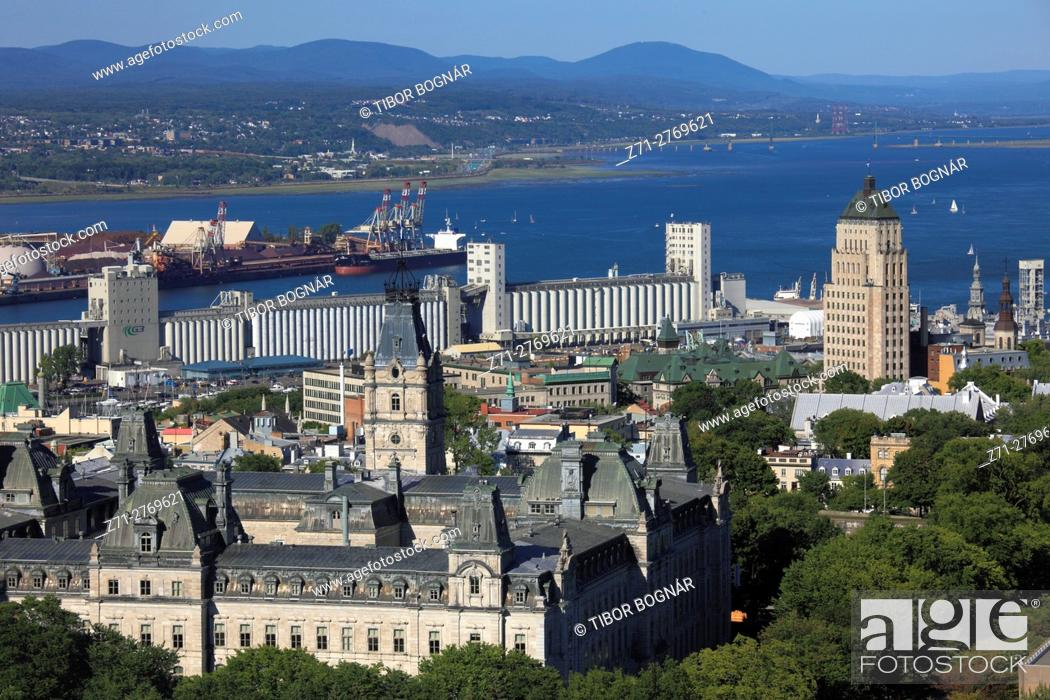 Stock Photo: Canada, Quebec City, skyline, Parliament, harbor, St Lawrence River, .