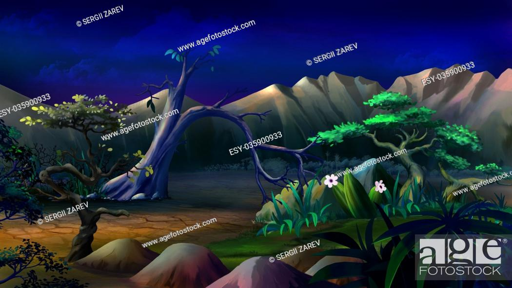 Imagen: Digital painting of the African Savannah in a summer night with lonely tree and mountains on background.