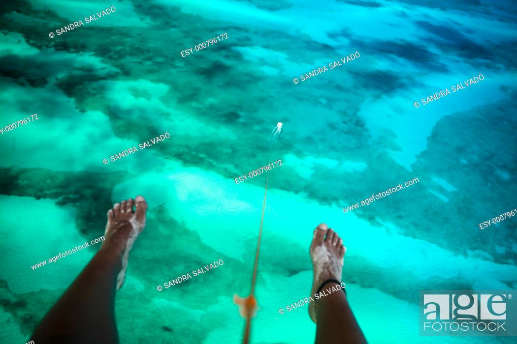 Stock Photo: Isla Blanca's aerial view, Cancun, Caribbean, Mexico.