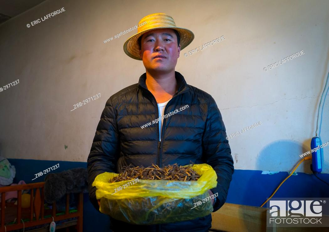 Stock Photo: Hui man seller with a bag full of caterpillar fungus costing thousands of dollars, Qinghai province, Sogzong, China.
