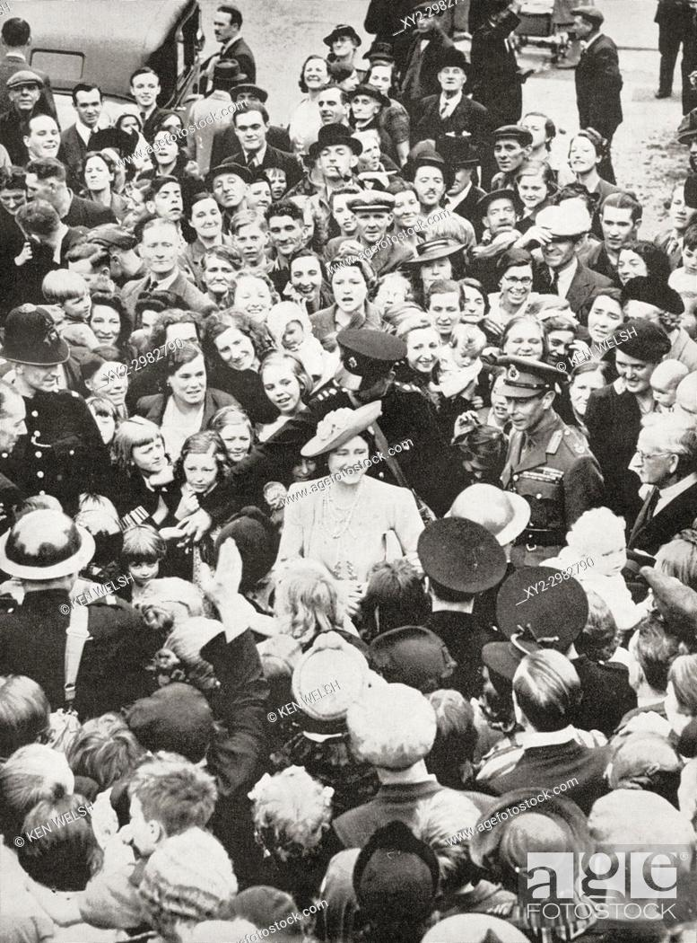 Stock Photo: King George VI and Queen Elizabeth in 1941 visiting Bermondsey, a much bombed London borough during WWII. George VI, 1895 - 1952.