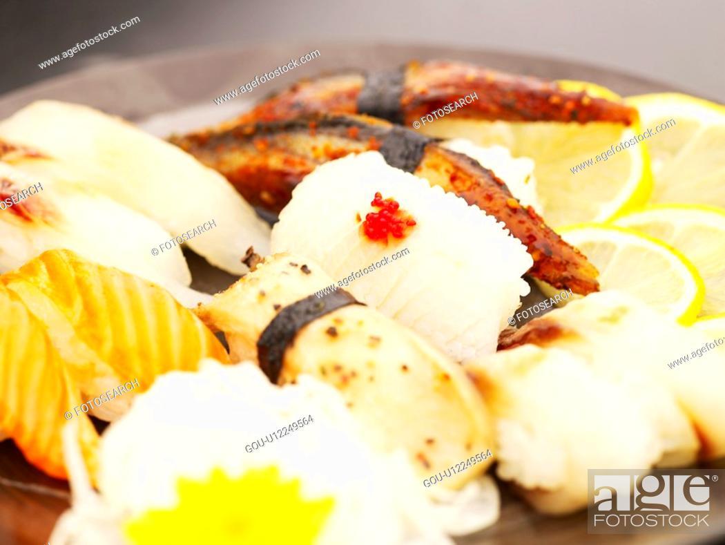 Stock Photo: squid sushi, plate, salmon sushi, decoration, food styling, sushi plate.