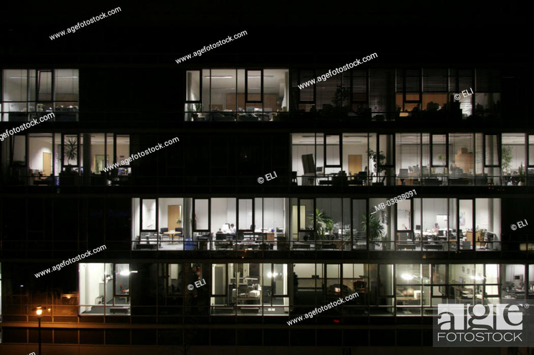 High-rise, office buildings, night, Business, buildings, office high-rise,  facade, windows, Stock Photo, Picture And Rights Managed Image. Pic. MB-03838091    agefotostock