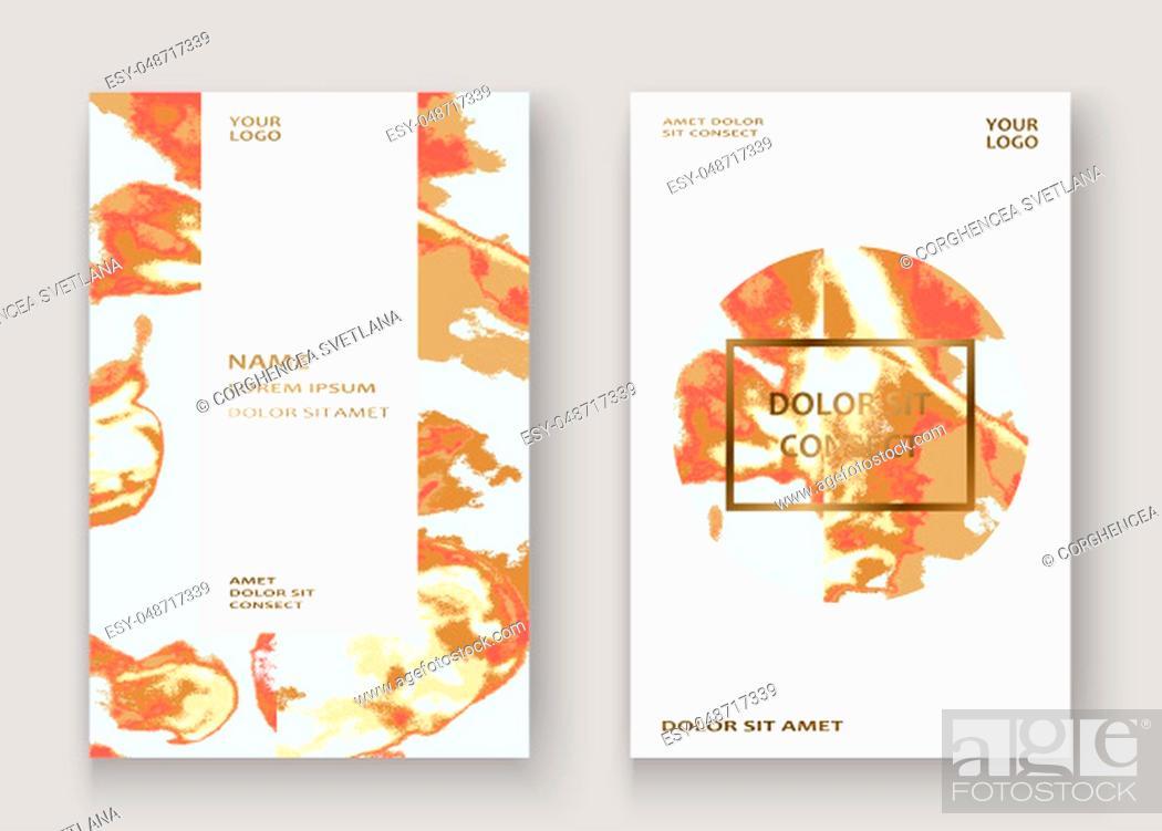 Stock Photo: Coral gold marble luxurious texture paint artistic, wedding invitation design. Decorative pink golden splash fluid on white background, vector Illustration.