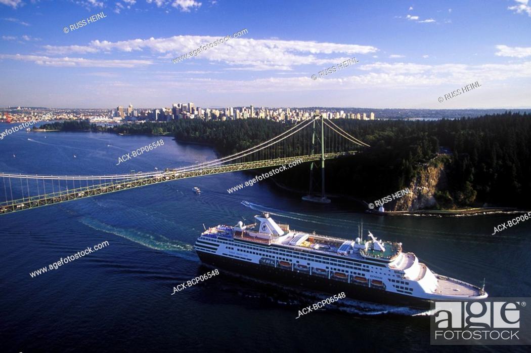 Stock Photo: Cruise ship passing under the Lions Gate Bridge, Vancouver, British Columbia, Canada.