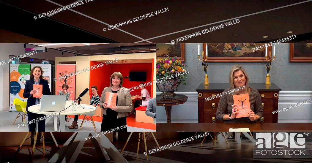 """Imagen: Queen Maxima of The Netherlands at Palace Huis ten Bosch in The Hague, on March 04, 2021, she receives digitally the first copy of the book """"""""Transition from."""