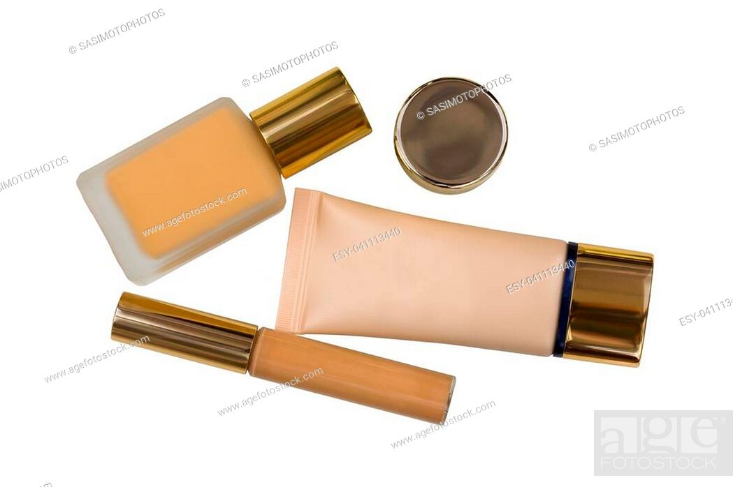Stock Photo: Packages of cosmetic makeup, bottle of liquid foundation, long wear lightweight, flawless wear creamy concealer and skin care product isolated on white.