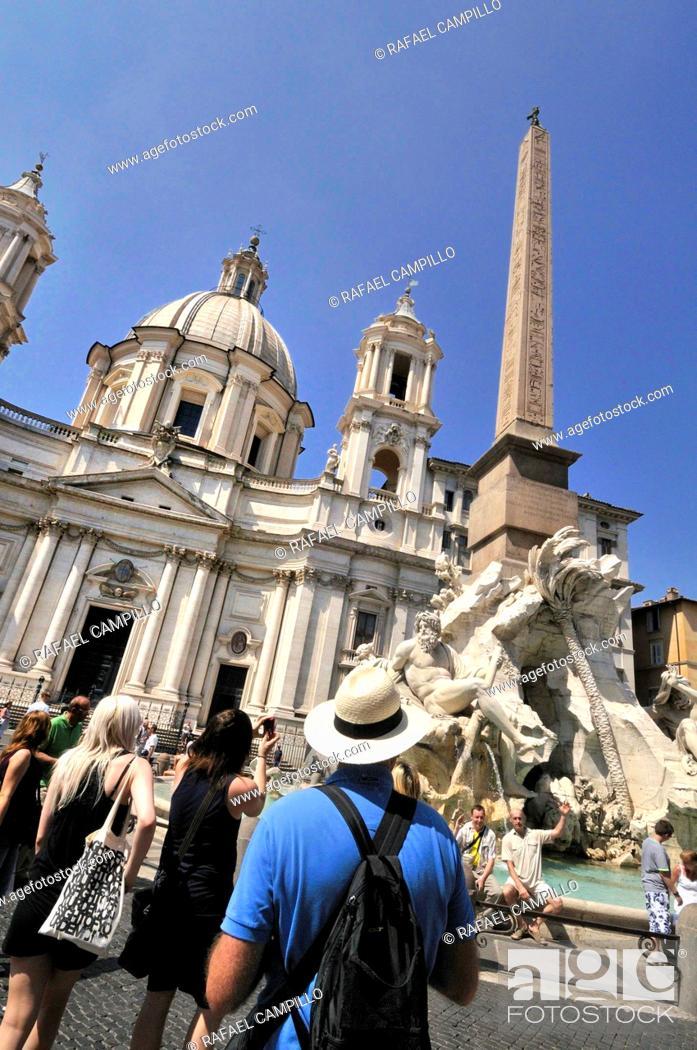 Stock Photo: Church of Sant'Agnese in Agone (1652, Carlo Rainaldi) and Fountain of the Four Rivers (1651, Gian Lorenzo Bernini) with Egyptian obelisk, Piazza Navona, Rome.