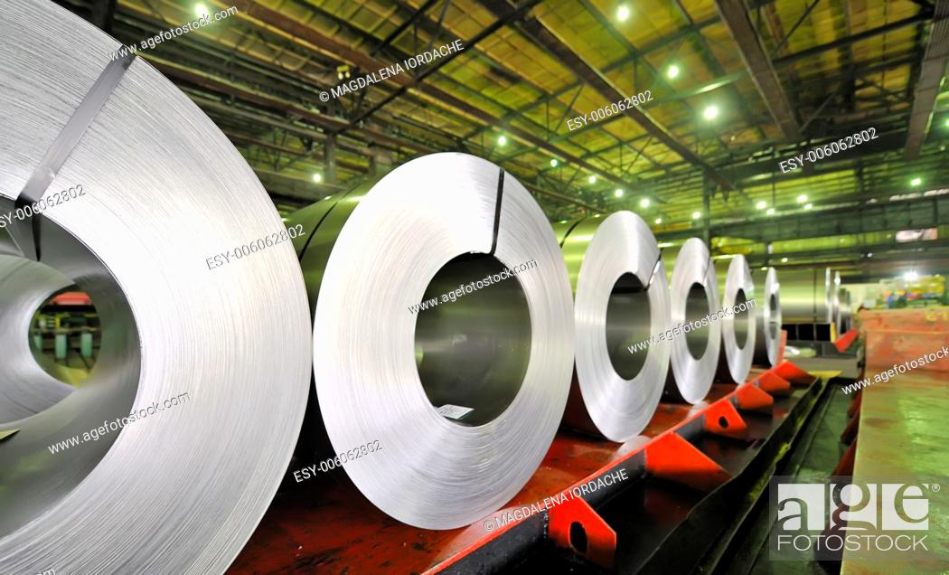 Stock Photo: rolls of steel sheet.