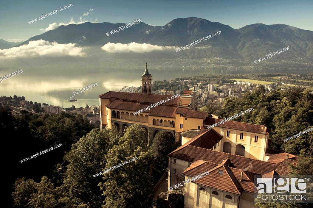 Stock Photo: Switzerland, Ticino, Lake Maggiore, Locarno, Madonna del Sasso church, morning.
