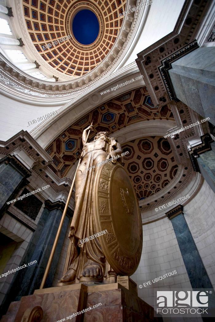 Stock Photo: Centro Habana Salon de Los Pasos Perdilos bronze Statue of the Republic under National Capitol buildings cupola.