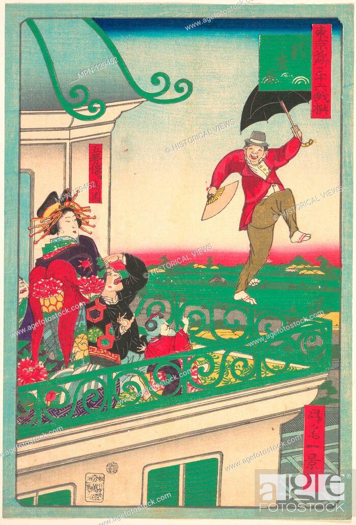 Stock Photo: Shin Yoshiwara: The New Yoshiwara. Artist: Shosai Ikkei (Japanese, active ca. 1870); Date: ca. 1875; Culture: Japan; Medium: Polychrome woodblock print; ink and.