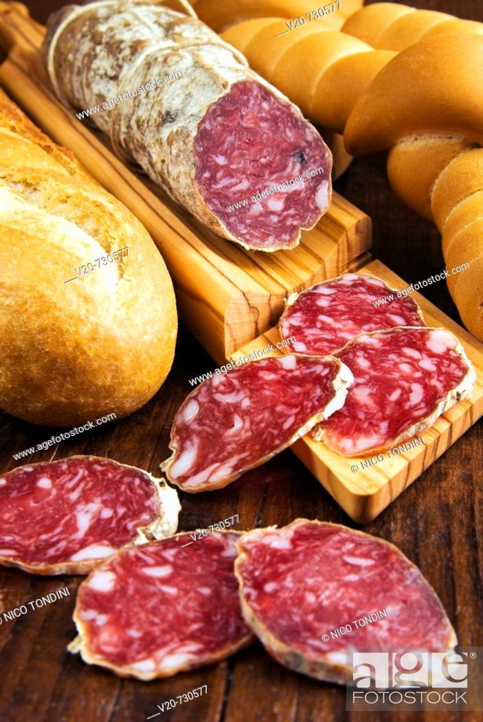 Stock Photo: Sausages from Felino. Emilia-Romagna, Italy.